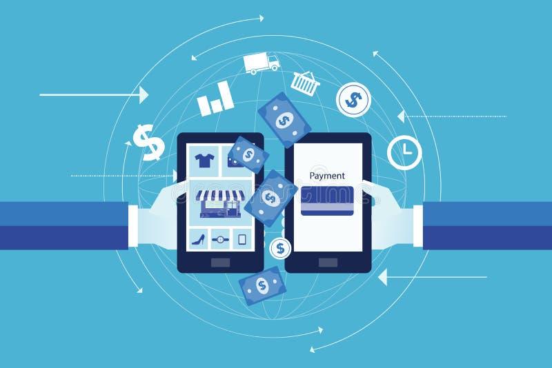 Biznesowa online zapłata na urządzeniu przenośnym i onlinym zakupy pojęciu ilustracja wektor