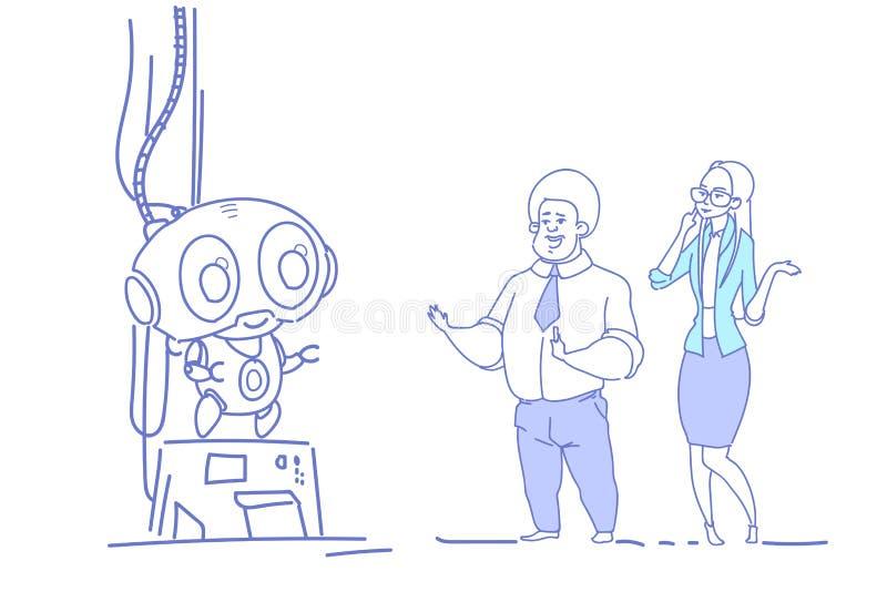 Biznesowa para patrzeje nowożytnego nowatorskiego robota mężczyzna kobiety sztucznej inteligenci nakreślenia doodle horyzontalneg ilustracji
