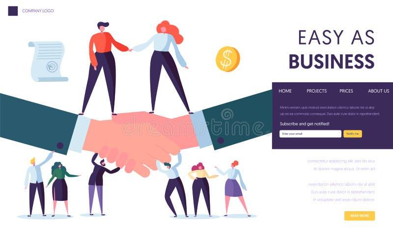 Biznesowa partnerstwa pojęcia lądowania strona Ludzie charakteru stojaka na Dwa biznesmenów chwiania ręce Symbol Pomyślny ilustracji