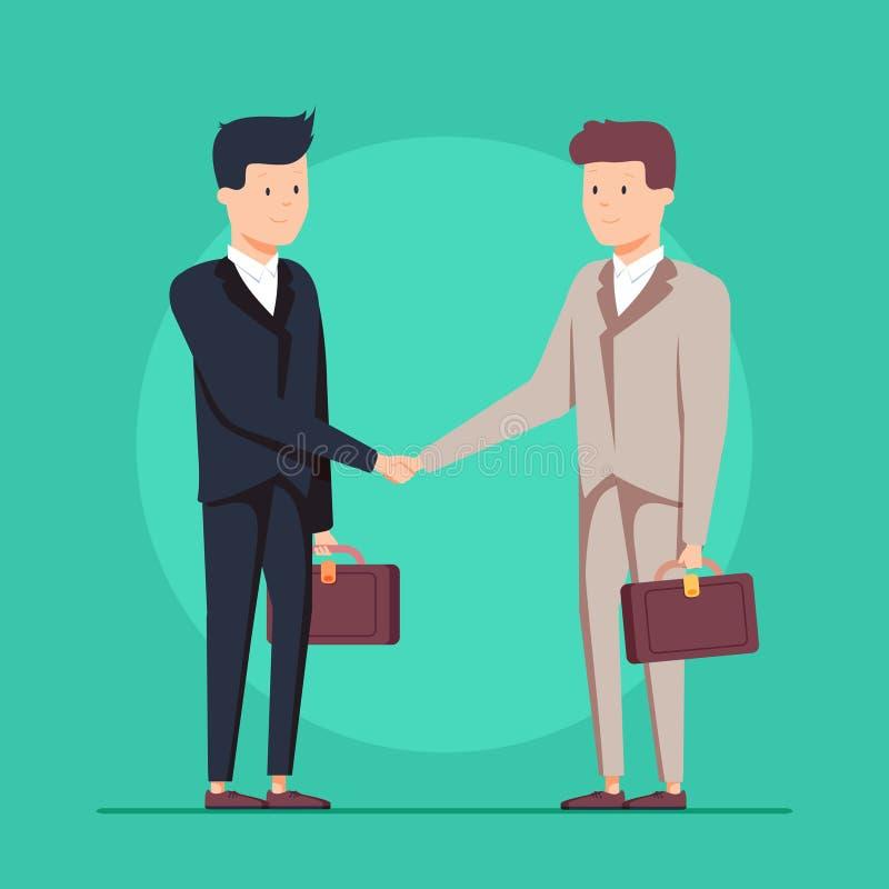 Biznesowa partnerstwo uścisku dłoni ilustracja Dylowy znak lub biznesmen zgody krzepko ludzie royalty ilustracja