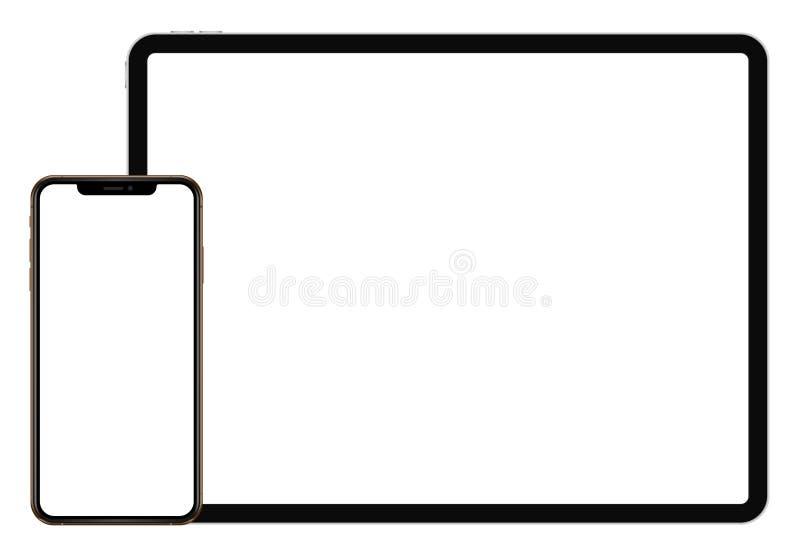 Biznesowa pastylka IPad 12,9 i iphone Pro sx styl na białym tle royalty ilustracja