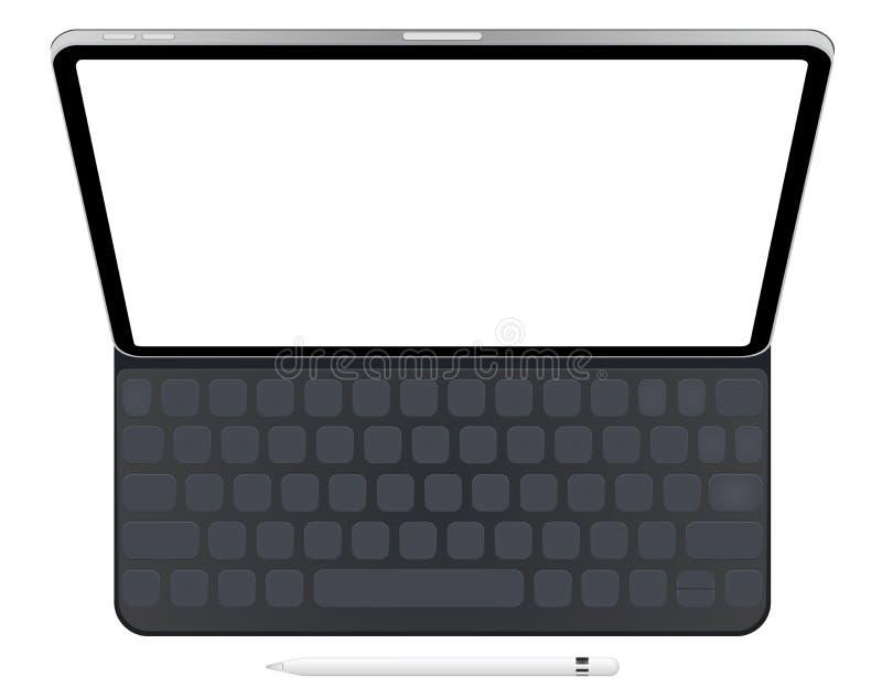 Biznesowa pastylka IPad Pro 12,9 z klawiaturą i ołówkiem royalty ilustracja