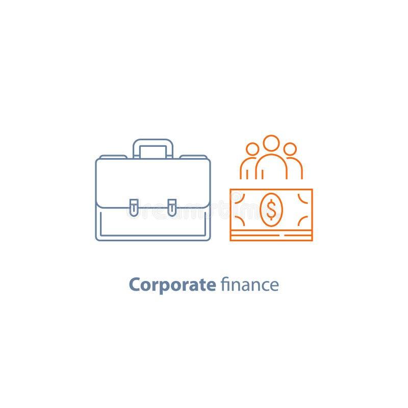 Biznesowa pożyczka, firma koszty, korporacyjny finanse, pieniężni ludzie, część właściciele, wektor kreskowa ikona royalty ilustracja