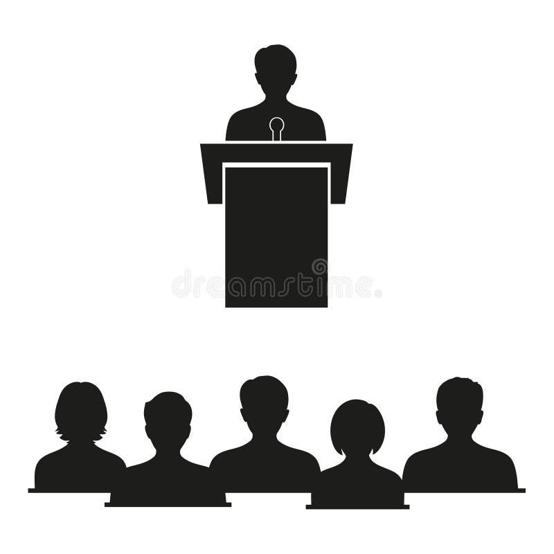 Biznesowa pojęcie ilustracja biznesmen daje mowie na scenie przed uczniami ilustracji
