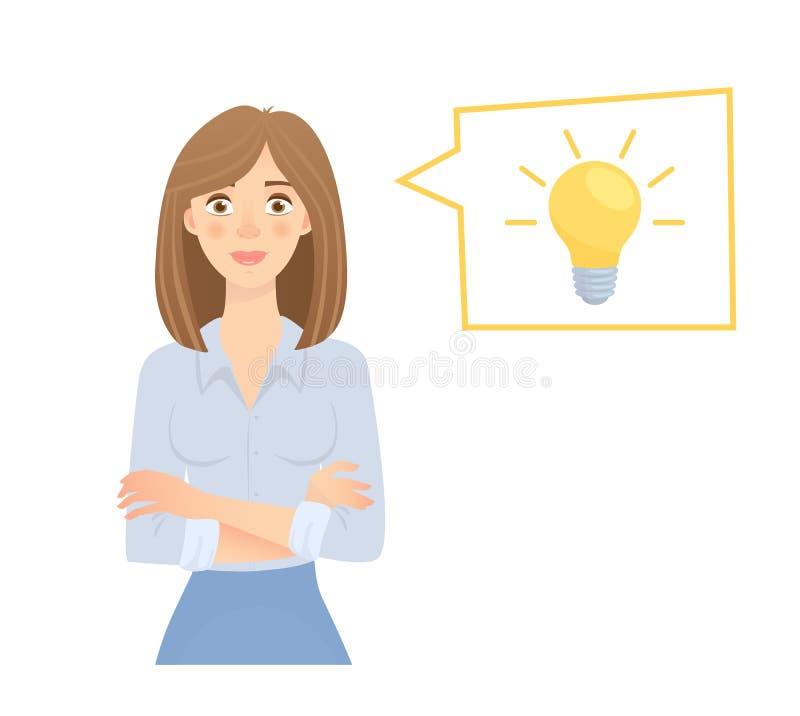 biznesowa pomysłu lampy kobieta ilustracji