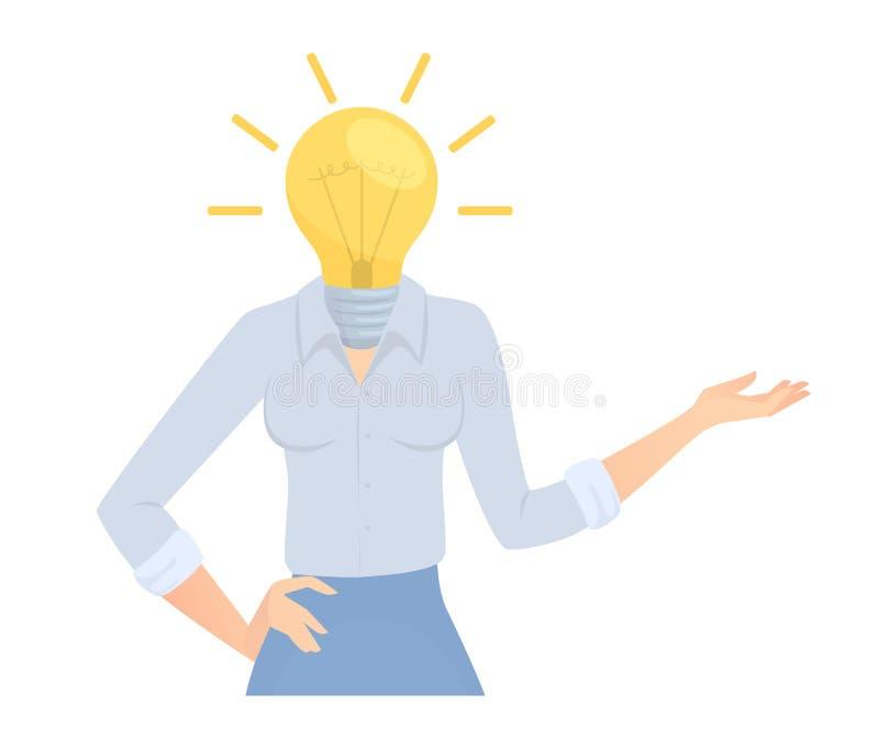 biznesowa pomysłu lampy kobieta ilustracja wektor