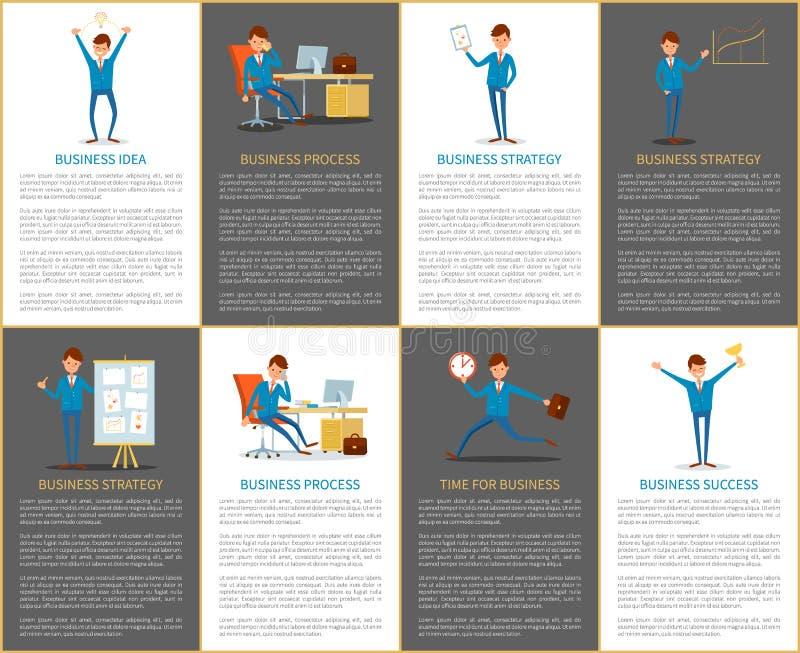 Biznesowa pomysłu, strategii, procesu i planu praca, ilustracji