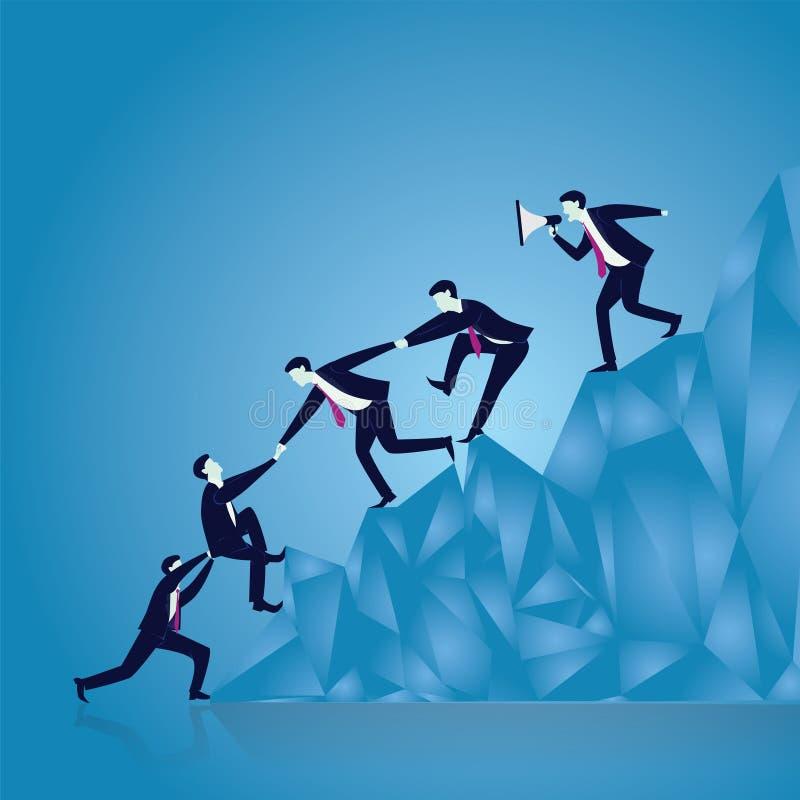 Biznesowa praca zespołowa Dosięgać sukces Wpólnie ilustracji