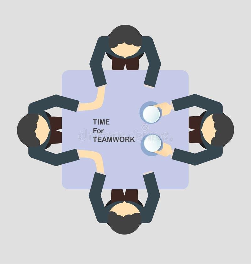 Biznesowa praca zespołowa w dyskusja czasie royalty ilustracja