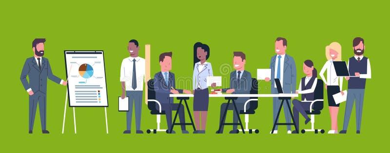 Biznesowa prezentaci pojęcia drużyny Brainstorming grupa biznesmenów profesjonaliści Spotyka Dyskutujący raport Lub royalty ilustracja