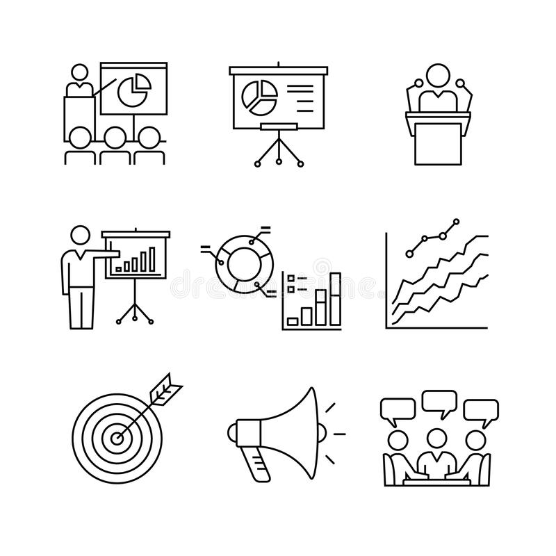 Biznesowa prezentacja, edukacja, konwersatorium ilustracja wektor