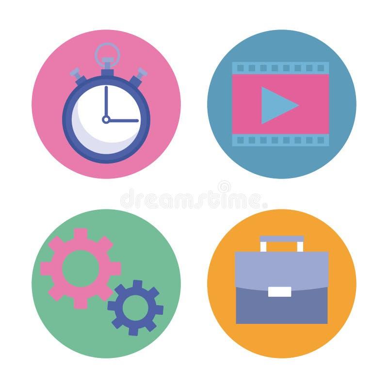 Biznesowa produktywność wytłacza wzory kreskówkę ilustracji