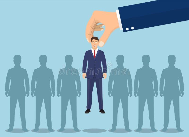 Biznesowa ręka podnosi up biznesmena royalty ilustracja