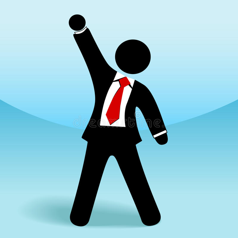biznesowa ręki postać pięści mężczyzna kija sukces biznesowy ilustracji