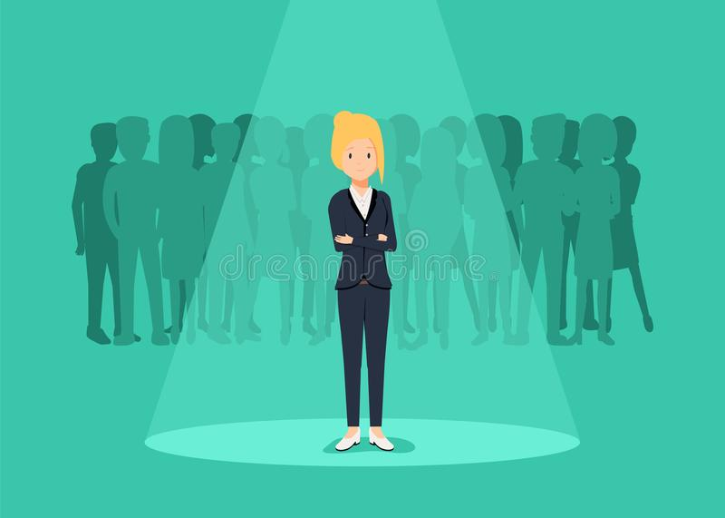 Biznesowa rekrutacja lub zatrudniać wektorowego pojęcie Patrzeć dla talentu Bizneswoman pozycja w świetle reflektorów lub searchl ilustracji