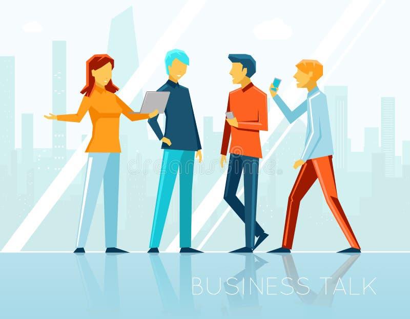Biznesowa rozmowa, kreatywnie brainstorming ilustracja wektor