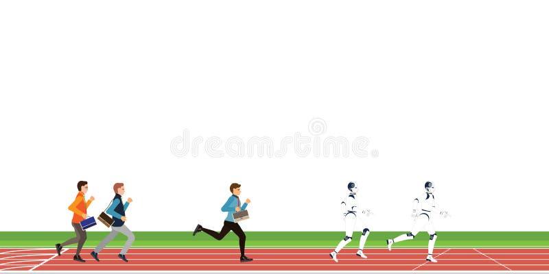 Biznesowa rywalizacja z ludzkiej i Sztucznej inteligencji kresk?wk? na sportowym ?ladzie na bia?ym tle ilustracja wektor