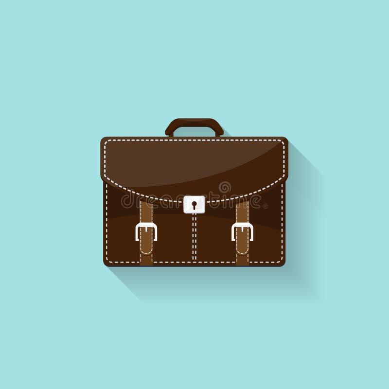 Biznesowa teczka w płaskim stylu Walizka, torba dla dokumentów również zwrócić corel ilustracji wektora ilustracja wektor