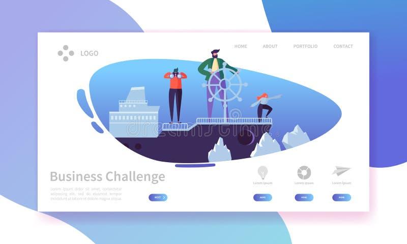 Biznesowa wyzwania lądowania strona Sztandar z Płaskimi ludźmi charakterów na statku w Niebezpiecznej wody strony internetowej sz ilustracji