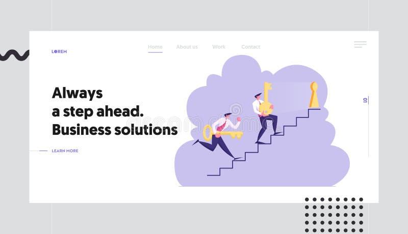 Biznesowa zadania rozwiązania strony internetowej lądowania strona, Biznesowi mężczyźni Niesie Ciężkich Ogromnych klucze Na piętr ilustracji
