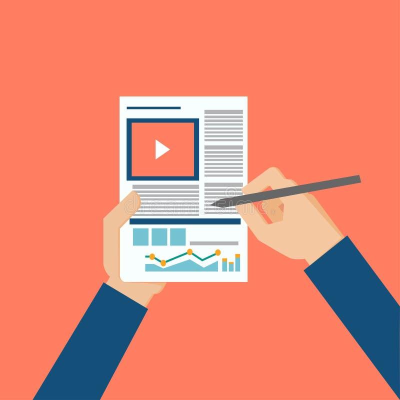 Biznesowe analityk ręki trzyma statystycznych dane mieszkania Nowożytnego stylu odgórnego widoku cienką kreskową wektorową ilustr ilustracji