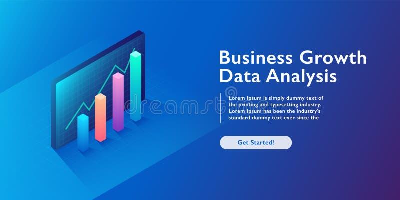 Biznesowe analityka pojęcie, dane unaocznienie, 3d infographics, pieniężny wzrost, mapy i diagrama isometric wektorowy illustrat, ilustracja wektor