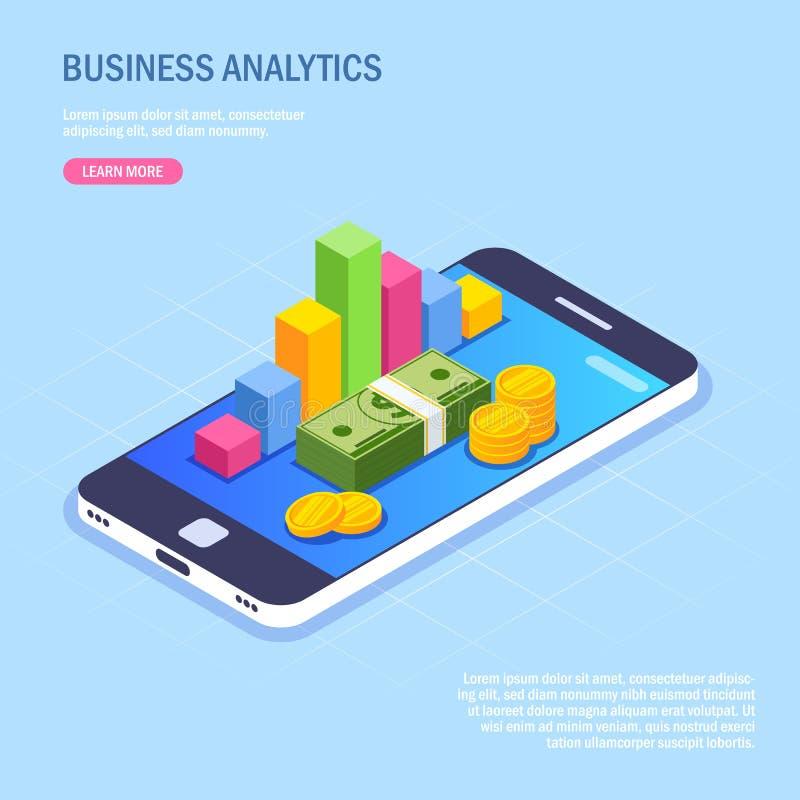 Biznesowe analityka przez telefonu komórkowego Pieniądze mapa na przyrządu ekranie i sterta Wektorowa isometric ilustracja w nowo ilustracja wektor