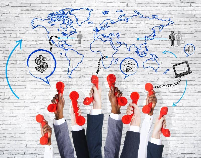 Biznesowe Communation ręki Podnosić Z telefonem ilustracji