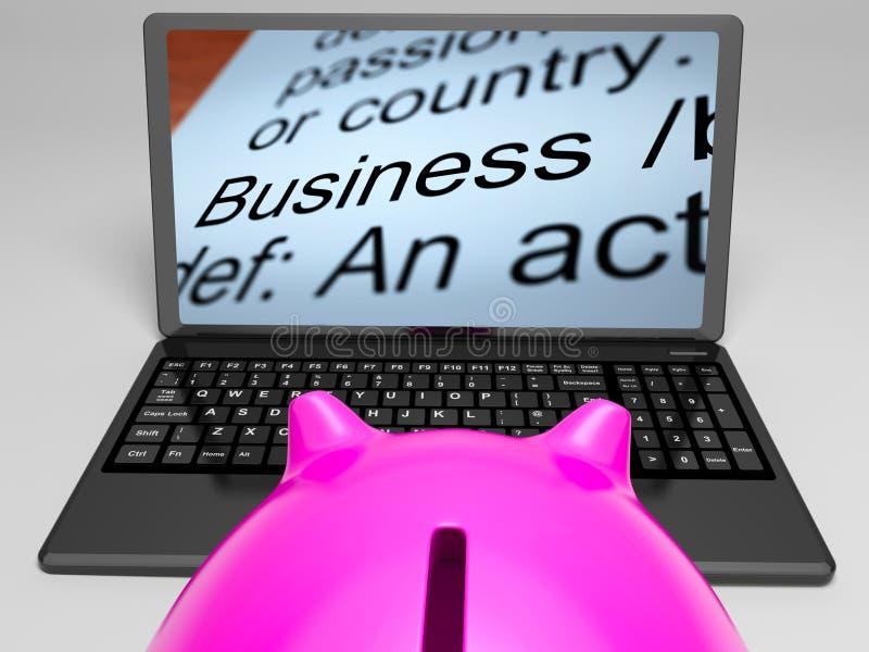 Biznesowe definicje Na laptopie Pokazują Monetarne transakcje ilustracja wektor