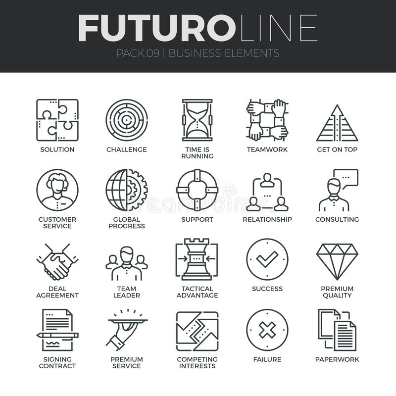 Biznesowe elementu Futuro linii ikony Ustawiać ilustracji