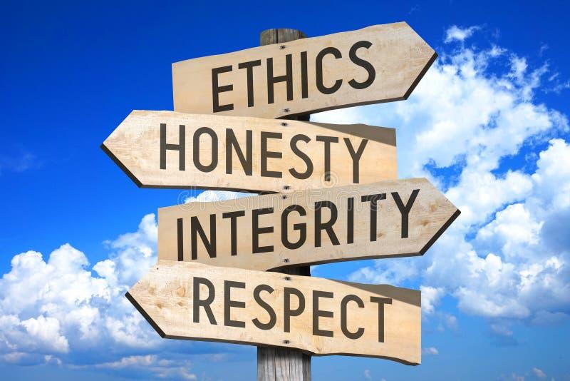 Biznesowe etyki - drewniany kierunkowskaz obraz stock