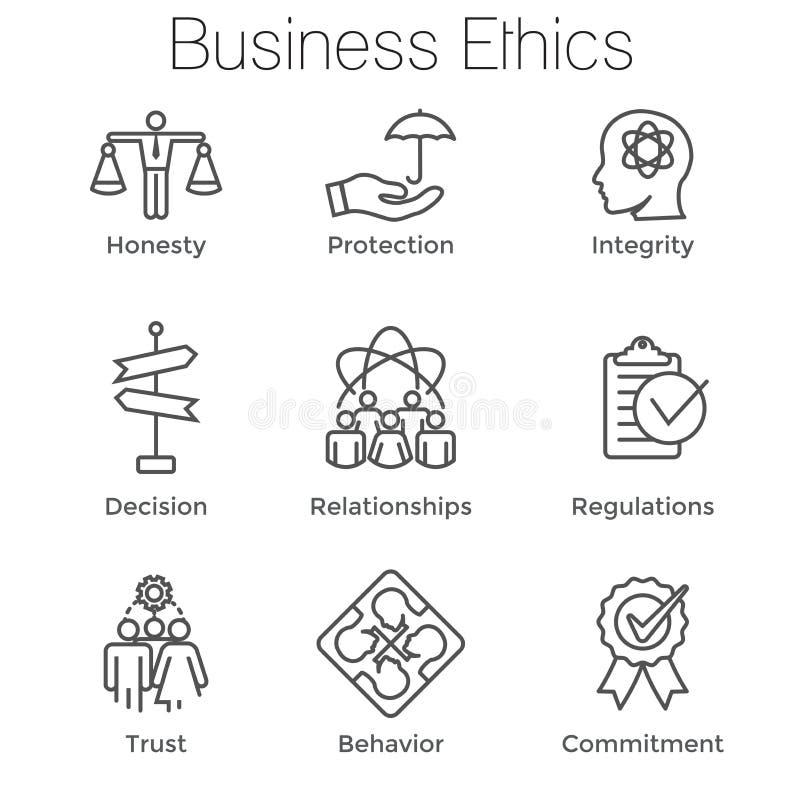Biznesowe etyki Zarysowywają ikony w Ustaloną rzetelność, prawość, Commitmen ilustracja wektor