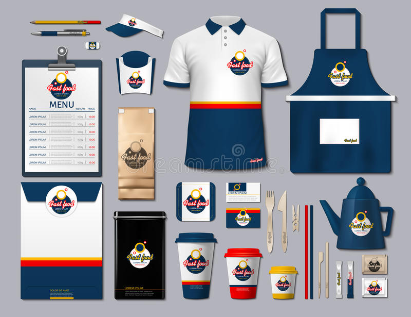 Biznesowe fastfood korporacyjnej tożsamości rzeczy ustawiać Wektorowego fastfood koloru promocyjny mundur, fartuch, menu, rozkład ilustracji
