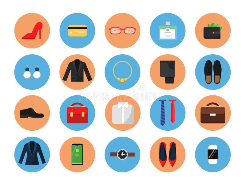 Biznesowe garderób ikony Biuro styl odziewa dla samiec i żeńskiej pracy mody spódnicowego kostiumu przypadkowej kurtki torby kape royalty ilustracja