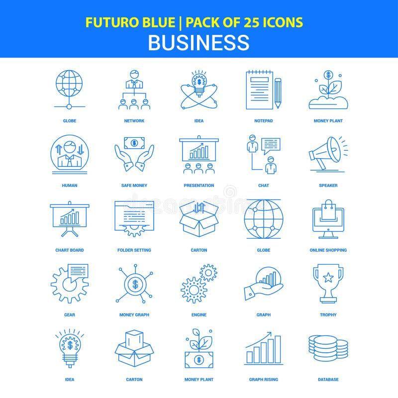 Biznesowe ikony - Futuro błękita 25 ikony paczka ilustracji