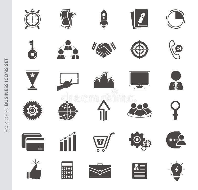 Biznesowe ikony ustawiać w modnym mieszkanie stylu odizolowywającym na białym tle royalty ilustracja