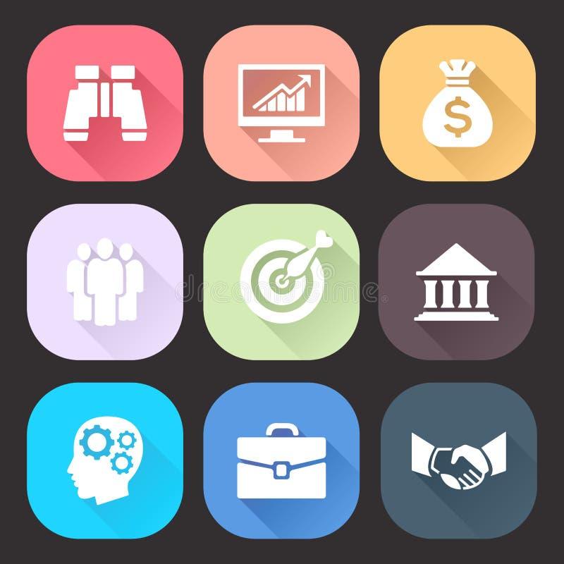 Biznesowe ikony ustawiać z długim cieniem na ciemnym tle Modny płaski projekt ilustracja wektor