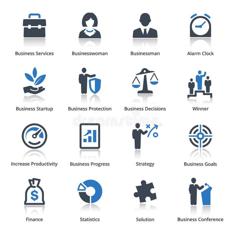 Biznesowe ikony Ustawiają 1 - Błękitne serie ilustracji