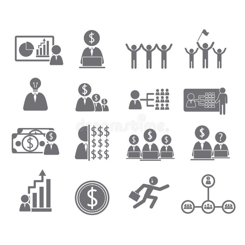 Biznesowe ikony, zarządzanie i istota ludzka, royalty ilustracja