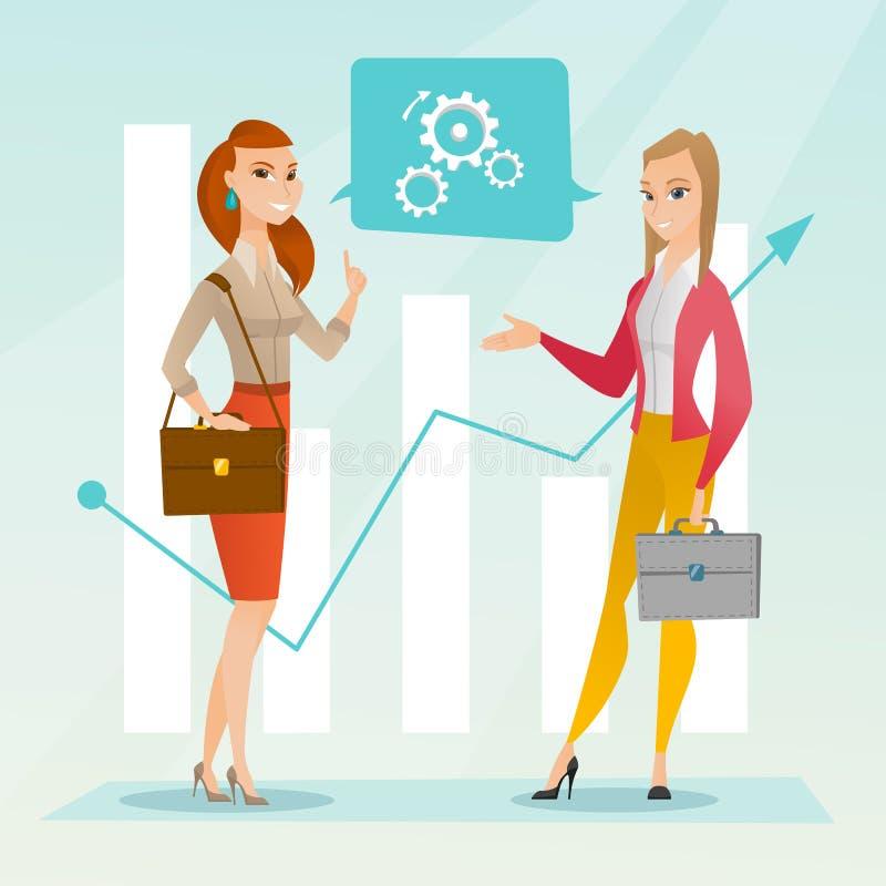 Biznesowe kobiety analizuje pieniężnych dane ilustracja wektor