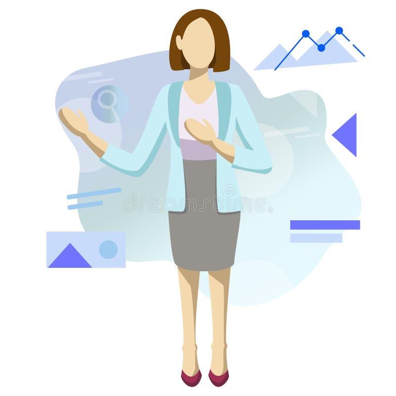 Biznesowe kobiety i twój palec… są up Płaski prosty projekt wektor ilustracji