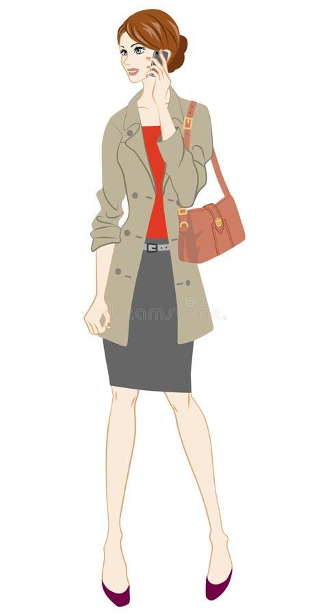Biznesowe kobiety trzyma mądrze telefon, Pełna długość ilustracja wektor