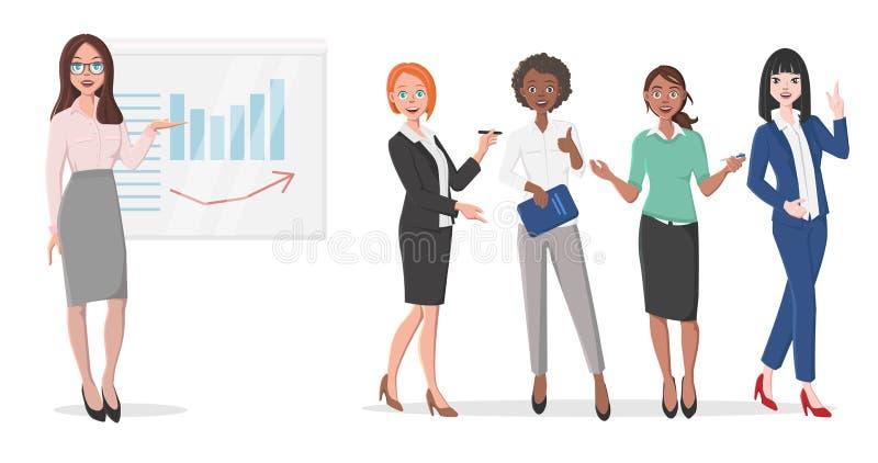 Biznesowe kobiety w prezentaci ilustracji
