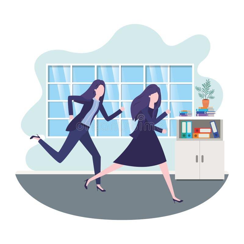 Biznesowe kobiety w ?ywym izbowym avatar charakterze royalty ilustracja
