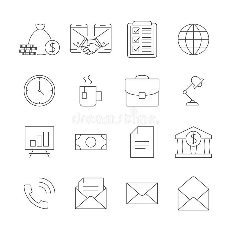 Biznesowe kontur ikony ustawiać royalty ilustracja