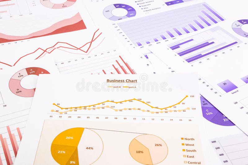 Biznesowe mapy, dane analiza, wprowadzać na rynek raportowy i edukacyjny obrazy stock