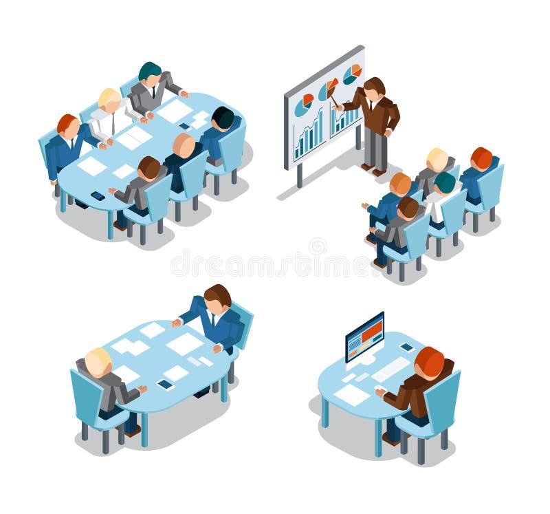 Biznesowe negocjacje i brainstorming, analiza ilustracja wektor