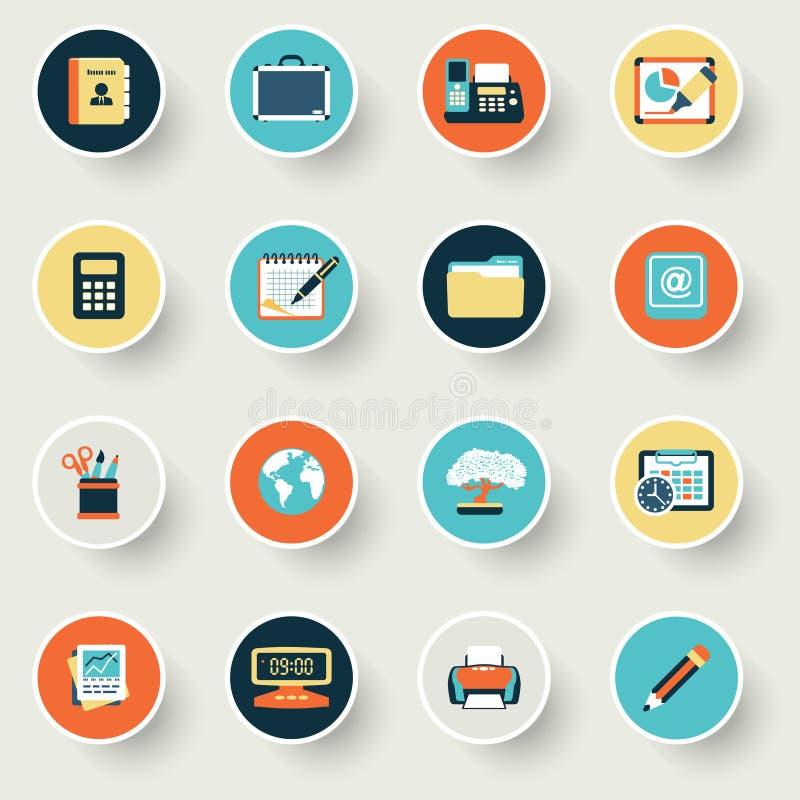 Biznesowe nowożytne płaskie kolor ikony ilustracja wektor
