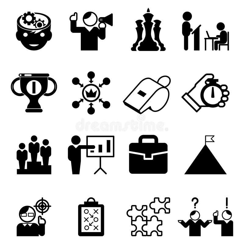 Biznesowe obowiązki mentora ikony i trenowanie znaki ilustracja wektor