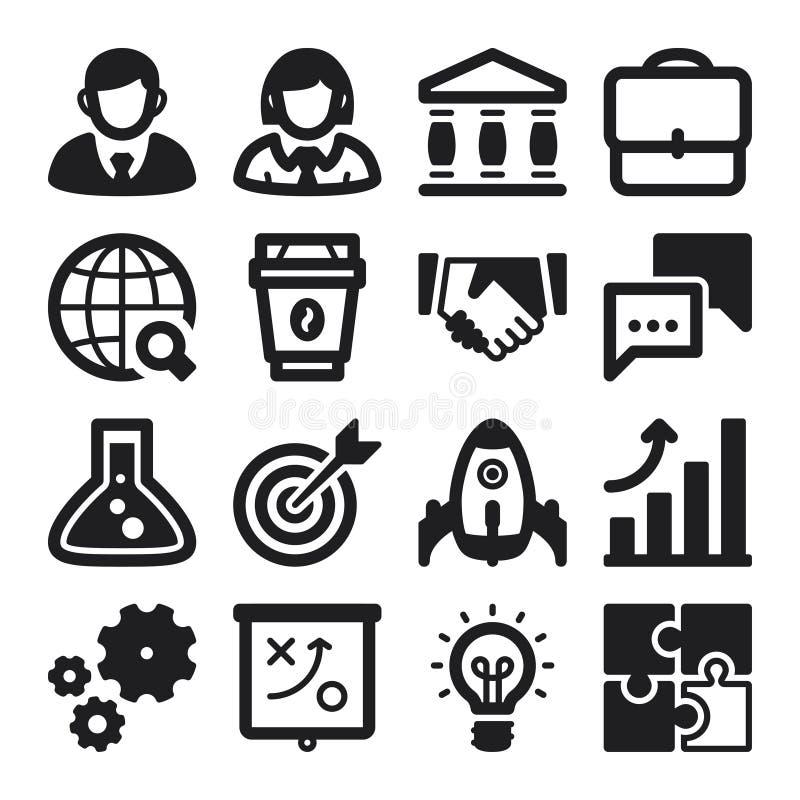 Biznesowe płaskie ikony. Czerń ilustracji